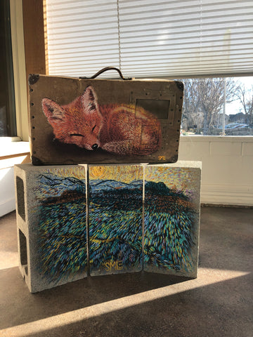 SMiLE Sleeping Fox on vintage suitcase top