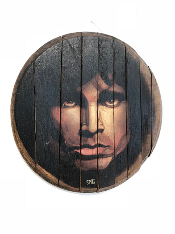 SMiLE Jim Morrison portrait on reclaimed wood