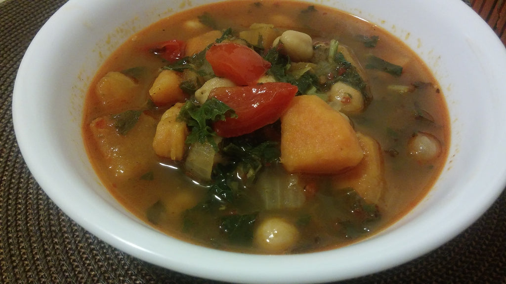 Chunky Sweet Potato and Chickpea Soup