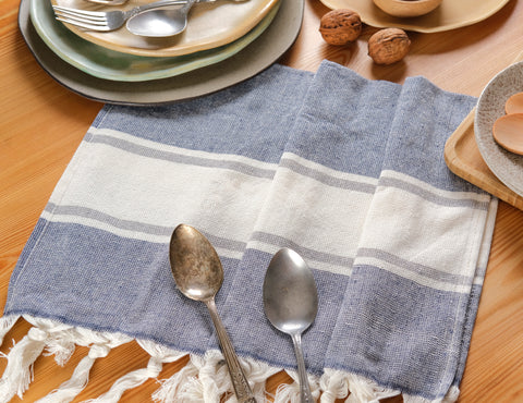 Cotton Turkish peshtemals can also be used as kitchen towels or placemats