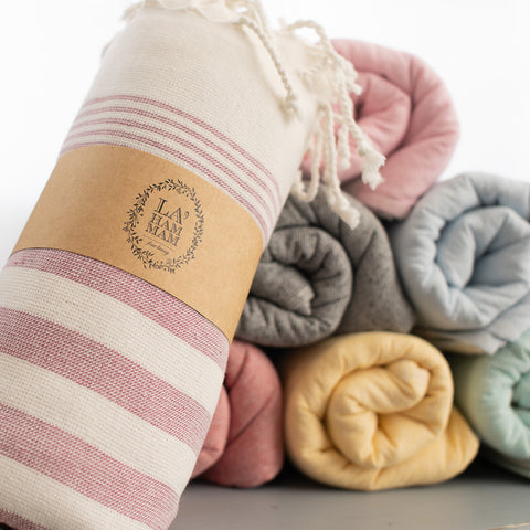 Original Turkish Cotton Peshtemals, imported from Turkey to the USA. Exclusively ours LA'HAMMAM