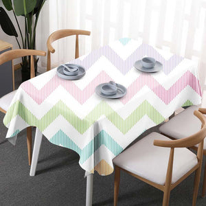 Plaid stripe Flower Linen Tablecloth