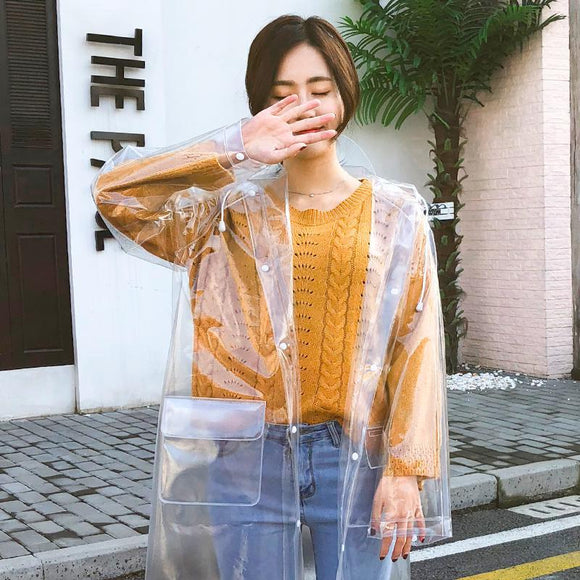Fashion transparent raincoat adult