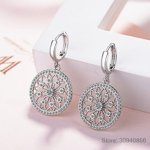 Original Creative Real 925 Sterling Silver Dreamcatcher Round Stud Earrings For Women Fashion Silver 925 Jewelry Gift E630
