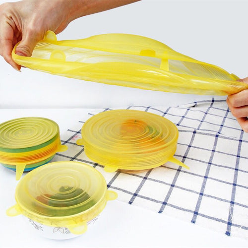 6pcs Reusable silicon stretch lids universal lid Silicone food wrap