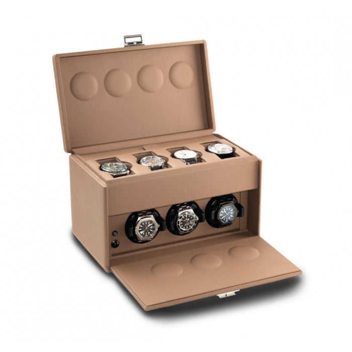 Scatola del Tempo 7RT Chestnut Triple Watch Winder with Storage