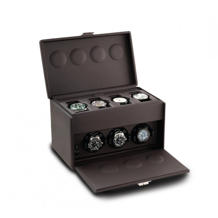 Scatola del Tempo 7RT Chocolate Triple Watch Winder with Storage