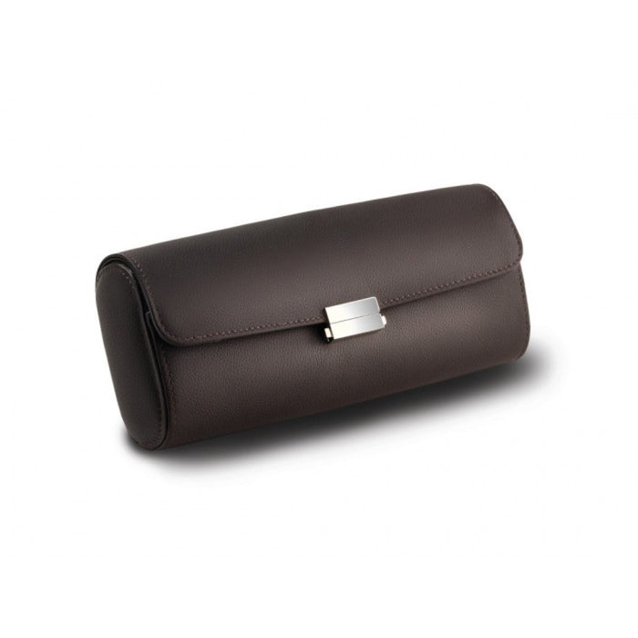 Scatola del Tempo Pochette Chocolate Leather 4 Piece Travel Case