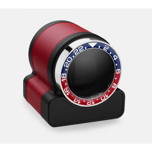 Scatola del Tempo Rotor-One Red Leather Single Watch Winder (03009.R) with Pepsi (Blue/Red) Bezel - Elite Watch Winders and Safes (www.elitesafes.co.uk)
