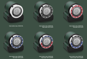 Scatola del Tempo Rotor-One Bezel Options in situ against Green leather Rotor-One. Bezel option does not include Rotor-One Watch Winder or Watches displayed - for demonstration only - Elite Watch Winders and Safes (www.elitesafes.co.uk)