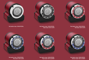 Scatola del Tempo Rotor-One Bezel Options in situ against Red leather Rotor-One. Bezel option does not include Rotor-One Watch Winder or Watches displayed - for demonstration only - Elite Watch Winders and Safes (www.elitesafes.co.uk)