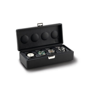 Scatola del Tempo Valigetta 4 (05002.BSIL) Black Leather 4 Piece carrying case open view - watches for illustration only -Elite Watch Winders and Safes (www.elitesafes.co.uk)