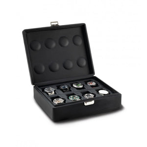 Scatola del Tempo Valigetta 8 Compact (05017.BSIL) Black Leather 8 Piece carrying case open view - watches shown for illustration - Elite Watch Winders and Safes (www.elitesafes.co.uk)
