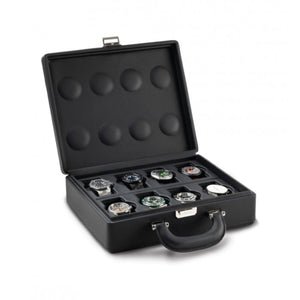 Scatola del Tempo Valigetta 8 Compact with handle (05013.BSIL) Black Leather 8 Piece carrying case with handle open view - watches for illustration only - Elite Watch Winders and Safes (www.elitesafes.co.uk)