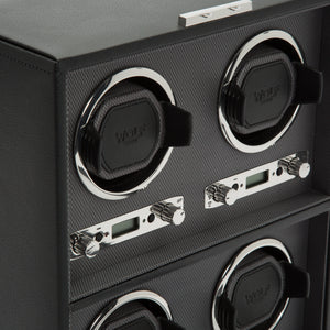 WOLF Viceroy (456702) Black Quad Winder detail view. Elite Watch Winders and Safes (www.elitesafes.co.uk)