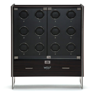 WOLF Regent (468040) 12 Piece Watch Winder Cabinet in matte zebra and black front view - watches for demonstration only - Elite Watch Winders and Safes (www.elitesafes.co.uk)