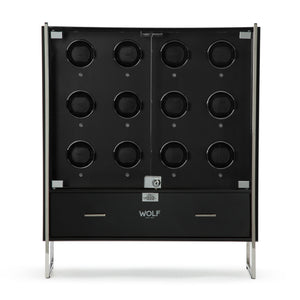 WOLF Regent (468070) 12 Piece Watch Winder Cabinet in black, front view with glass doors open - Elite Watch Winders and Safes (www.elitesafes.co.uk)