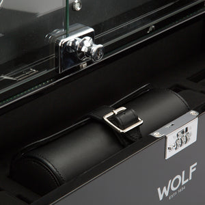 WOLF Regent (468070) 12 Piece Watch Winder Cabinet in black, front view with watch roll. Elite Watch Winders and Safes (www.elitesafes.co.uk)