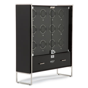 WOLF Regent (468070) 12 Piece Watch Winder Cabinet in black, front view with glass doors closed. Elite Watch Winders and Safes (www.elitesafes.co.uk)