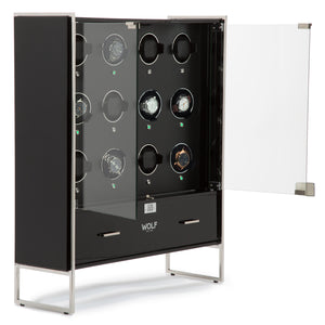 WOLF Regent (468070) 12 Piece Watch Winder Cabinet in black, front view with glass doors open - watches for demonstration only - Elite Watch Winders and Safes (www.elitesafes.co.uk)