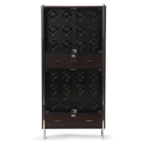 WOLF Baron (468140) matte zebra and matte black 24 piece watch winder cabinet front view. Elite Watch Winders and Safes (www.elitesafes.co.uk)