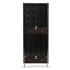 WOLF Ambassador (468240) Zebra &  Black 32 Piece Watch Winder Cabinet front view. Elite Watch Winders and Safes (www.elitesafes.co.uk)