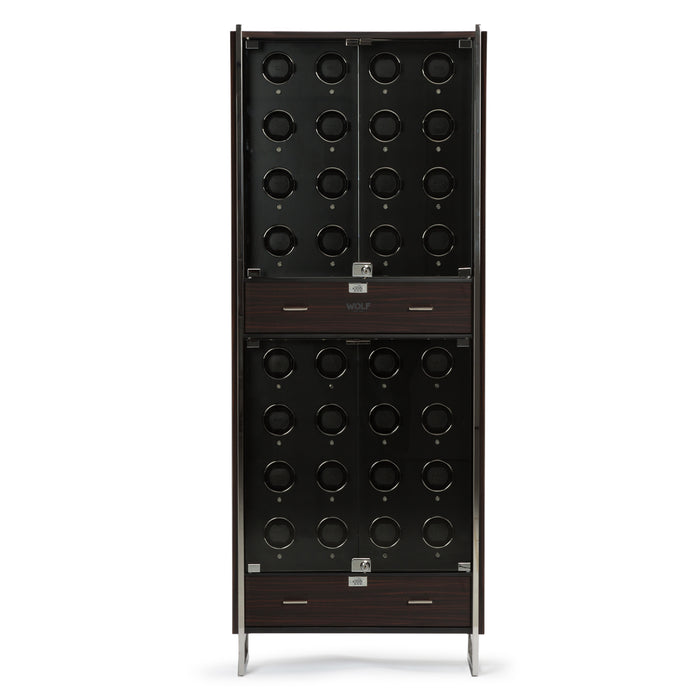 WOLF 1834 - Ambassador 32 Piece Watch Winder Cabinet in Matte Zebra & Black