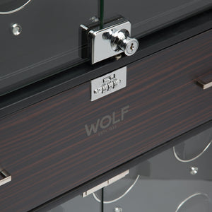 WOLF Ambassador (468240) Zebra & Black 32 Piece Watch Winder detail view of drawer and window lock - watches for illustration only - Elite Watch Winders and Safes (www.elitesafes.co.uk)