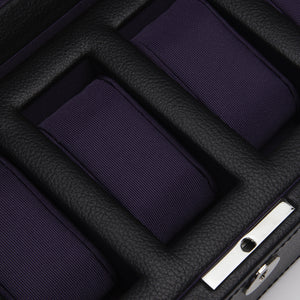 Wolf Windsor (458303) 5 Piece Watch Box in black and purple, detail view. Elite Watch Winders and Safes (www.elitesafes.co.uk)