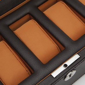 Wolf Windsor (458306) 5 Piece Watch Box in brown and orange, detail view. Elite Watch Winders and Safes (www.elitesafes.co.uk)