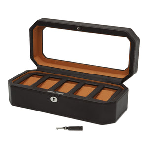 Wolf Windsor (458306) 5 Piece Watch Box in brown and orange, open view. Elite Watch Winders and Safes (www.elitesafes.co.uk)