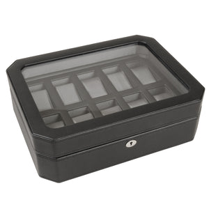 Wolf Windsor (4584029) 10 Piece Watch Box in black, front view. Elite Watch Winders and Safes (www.elitesafes.co.uk)
