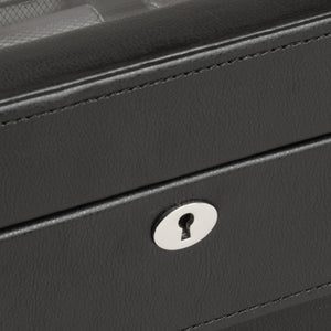 Wolf Windsor (4584029) 10 Piece Watch Box in black, detailed lock view. Elite Watch Winders and Safes (www.elitesafes.co.uk)