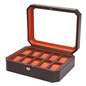 Wolf Windsor (458406) Brown and Orange 10 Piece Watch Box front view with lid open. Elite Watch Winders and Safes (www.elitesafes.co.uk)