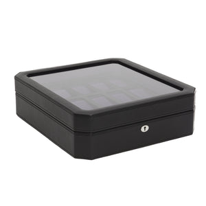 Wolf Windsor (458503) Black and Purple 15 Piece Watch Box overall view with lid closed. Elite Watch Winders and Safes (www.elitesafes.co.uk)