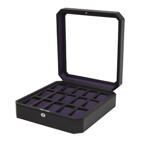 Wolf Windsor (458503) Black and Purple 15 Piece Watch Box overall view with lid open. Elite Watch Winders and Safes (www.elitesafes.co.uk)