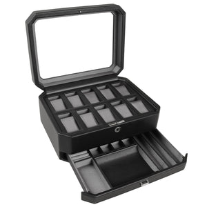 Wolf Windsor (4586029) Black 10 Piece Watch Box overall view with lid and drawer open. Elite Watch Winders and Safes (www.elitesafes.co.uk)