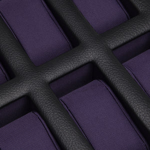 Wolf Windsor (458603) Black and Purple 10 Piece Watch Box detail view. Elite Watch Winders and Safes (www.elitesafes.co.uk)