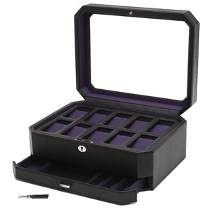 Wolf Windsor (458603) Black and Purple 10 Piece Watch Box overall view with lid and drawer open. Elite Watch Winders and Safes (www.elitesafes.co.uk)