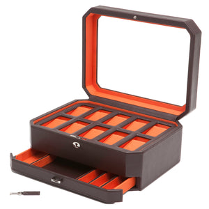 Wolf Windsor (458606) Black and Orange 10 Piece Watch Box with Drawer overall view with cover and drawer open. Elite Watch Winders and Safes (www.elitesafes.co.uk)