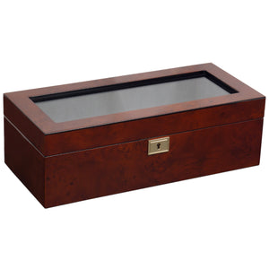 Wolf Savoy (461510) Burl wood 5 Piece Watch Box overall view with lid closed. Elite Watch Winders and Safes (www.elitesafes.co.uk)