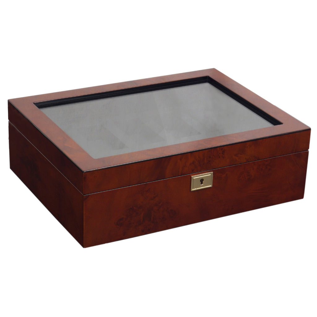 Wolf Savoy (4585029) Burl wood 10 Piece Watch Box overall view with lid closed. Elite Watch Winders and Safes (www.elitesafes.co.uk)