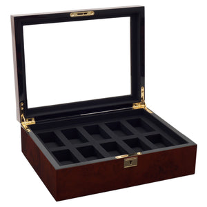 Wolf Savoy (4585029) Burl wood 10 Piece Watch Box overall view with lid open. Elite Watch Winders and Safes (www.elitesafes.co.uk)