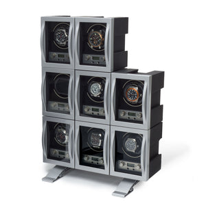 WOLF Module 4.1 (454011) Single watch winder interlock front view - watches shown for demonstration only - Elite Watch Winders and Safes (www.elitesafes.co.uk)