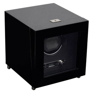 Wolf Savoy (454470) Black Single Winder front view. Elite Watch Winders and Safes (www.elitesafes.co.uk)