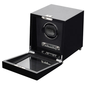 Wolf Savoy (454470) Black Single Winder front view with cover open. Elite Watch Winders and Safes (www.elitesafes.co.uk)