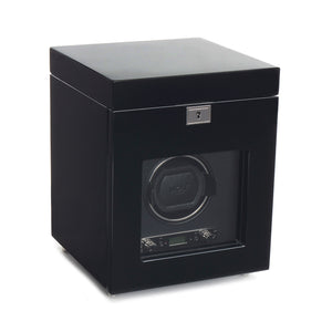 WOLF Savoy (454570) Black Single Winder with storage front view. Elite Watch Winders and Safes (www.elitesafes.co.uk)