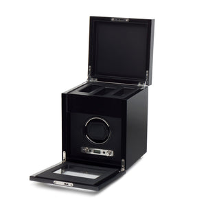 WOLF Savoy (454570) Black Single Winder with storage front view with lid and cover open. Elite Watch Winders and Safes (www.elitesafes.co.uk)