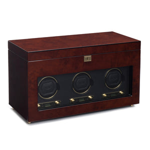 WOLF Savoy (454710) Burl Wood Triple Watch Winder with storage front view. Elite Watch Winders and Safes (www.elitesafes.co.uk)