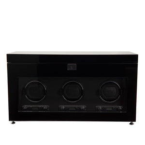 WOLF Savoy (454770) Black Triple Watch Winder with Storage front view. Elite Watch Winders and Safes (www.elitesafes.co.uk)